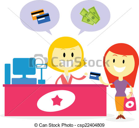 Vector Clipart of Pay with Cash or Credit Card.