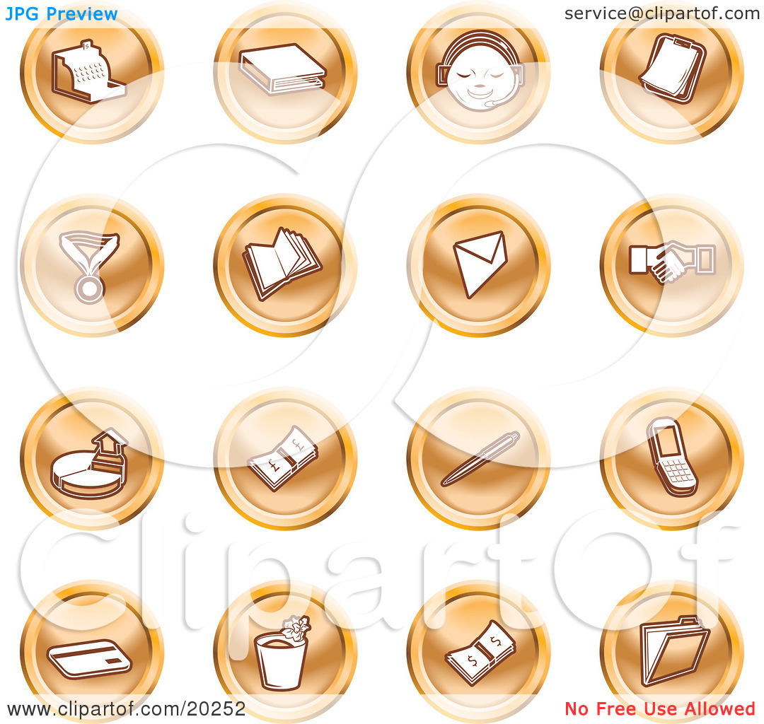Clipart Illustration of a Collection Of Orange Icons Of A Cash.