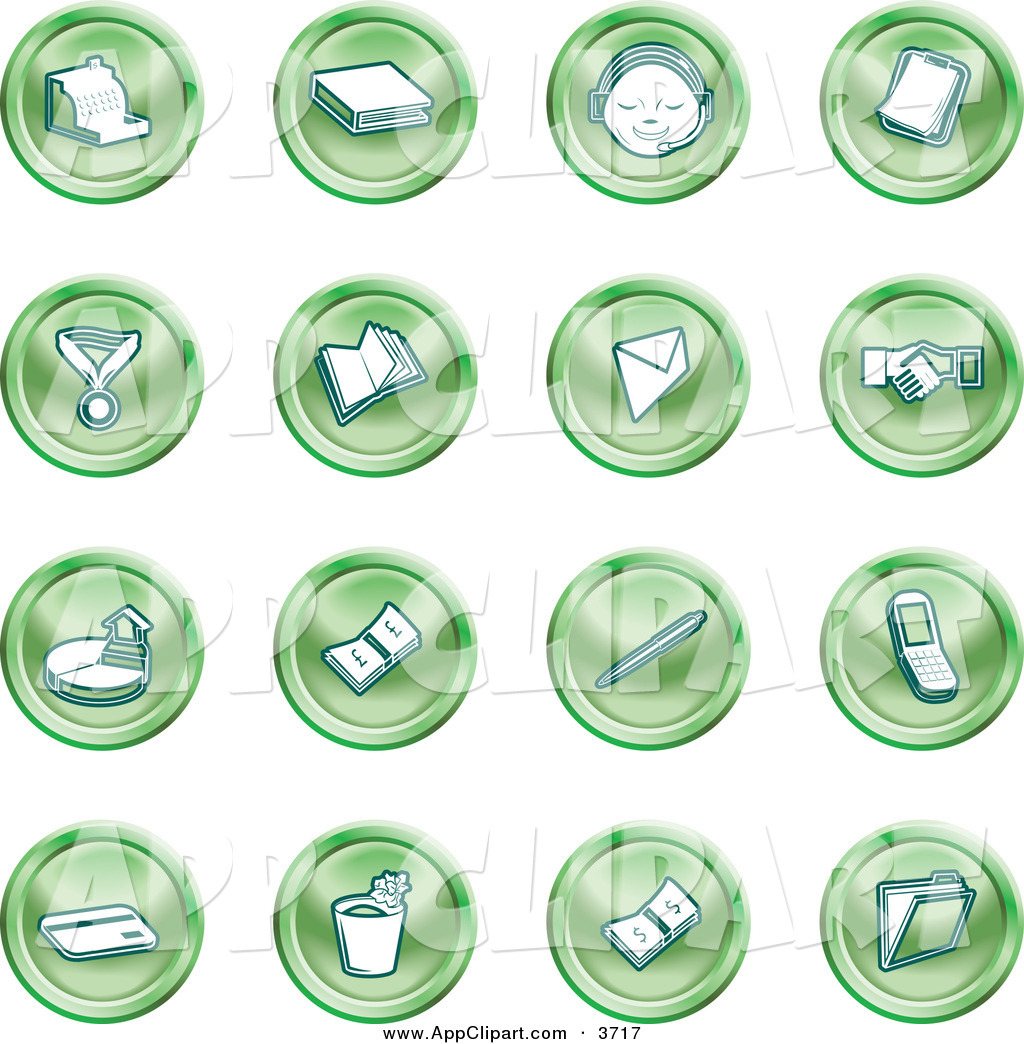 Vector Clip Art of a Collection of Green Coin Icons of a Cash.