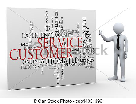 3d businessman and customer service wordcloud.