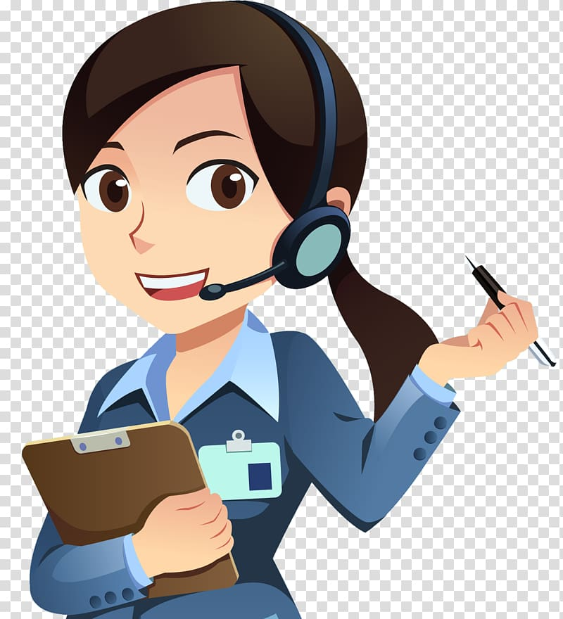 Female agent holding pen and clip board , Customer Service Technical.