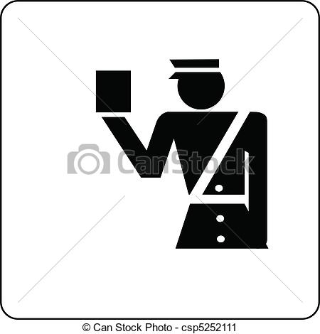Vectors Illustration of customs official check luggage sign.