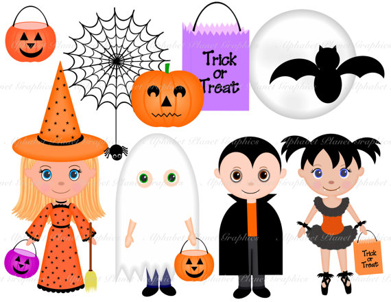 Kids in halloween costumes clipart.