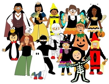 Kids halloween costume clipart.