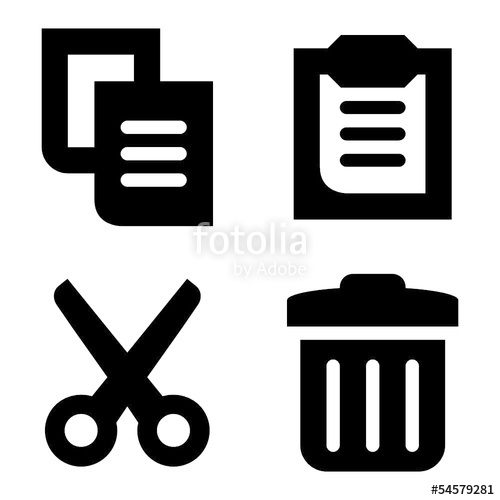 Copy, paste, cut and delete vector icons