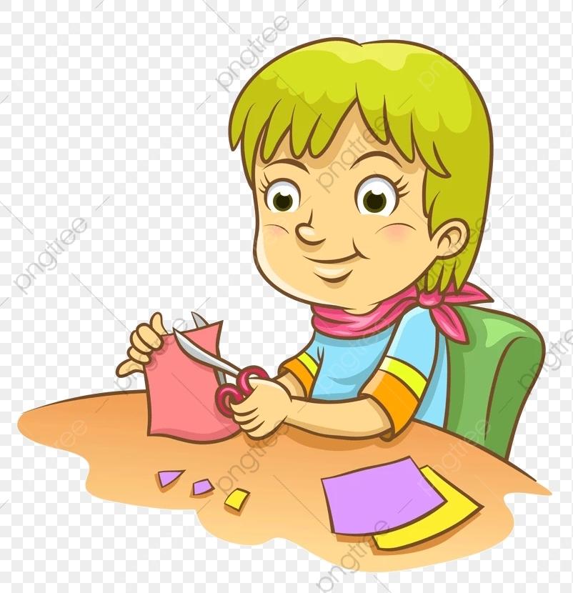 Paper Cut Pupils, Primary School Students, Paper Cutting, Scissors.