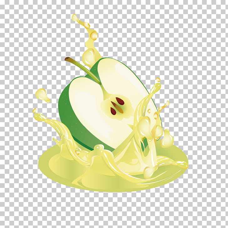 Apple juice Apple juice Illustration, Cut the green apple.