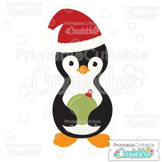 Penguin Holding Christmas Ornament SVG Cut File & Clipart.