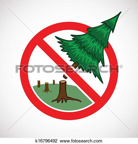 Clipart of Stop cutting down live trees for Christmas sign.