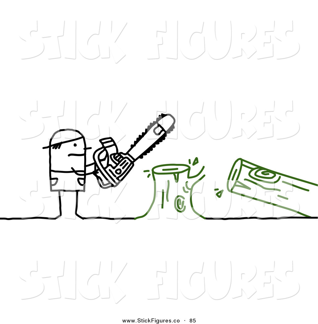 Illustration of a Stick Figure People Character Using a Saw to Cut.