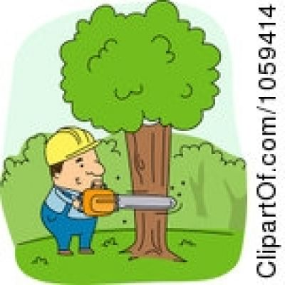 Person cutting down tree clipart.