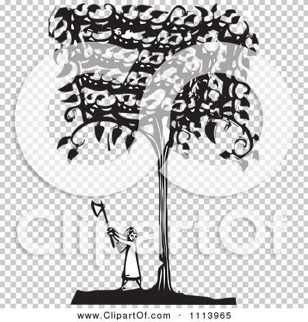 Clipart Girl Cutting Down A Tree Black And White Woodcut.