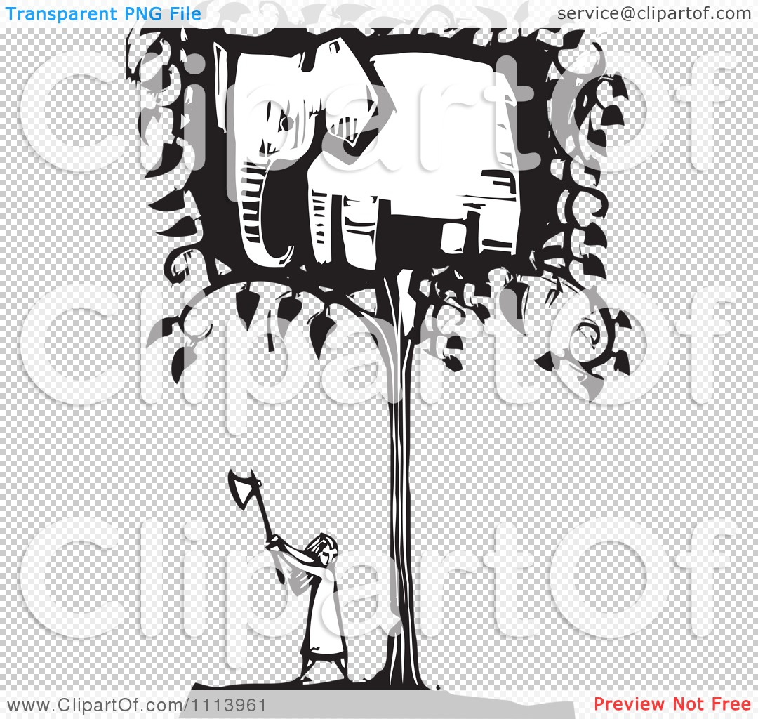 Clipart Girl Cutting Down An Elephant Tree Black And White Woodcut.