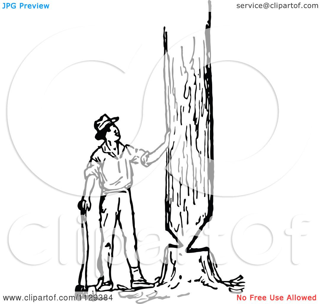 Man Cutting Tree Clip Art.