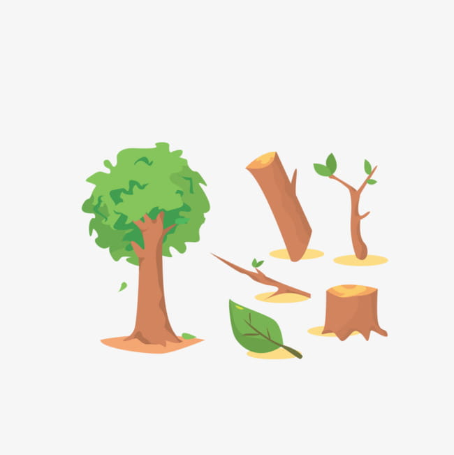 Cut down trees PNG clipart.
