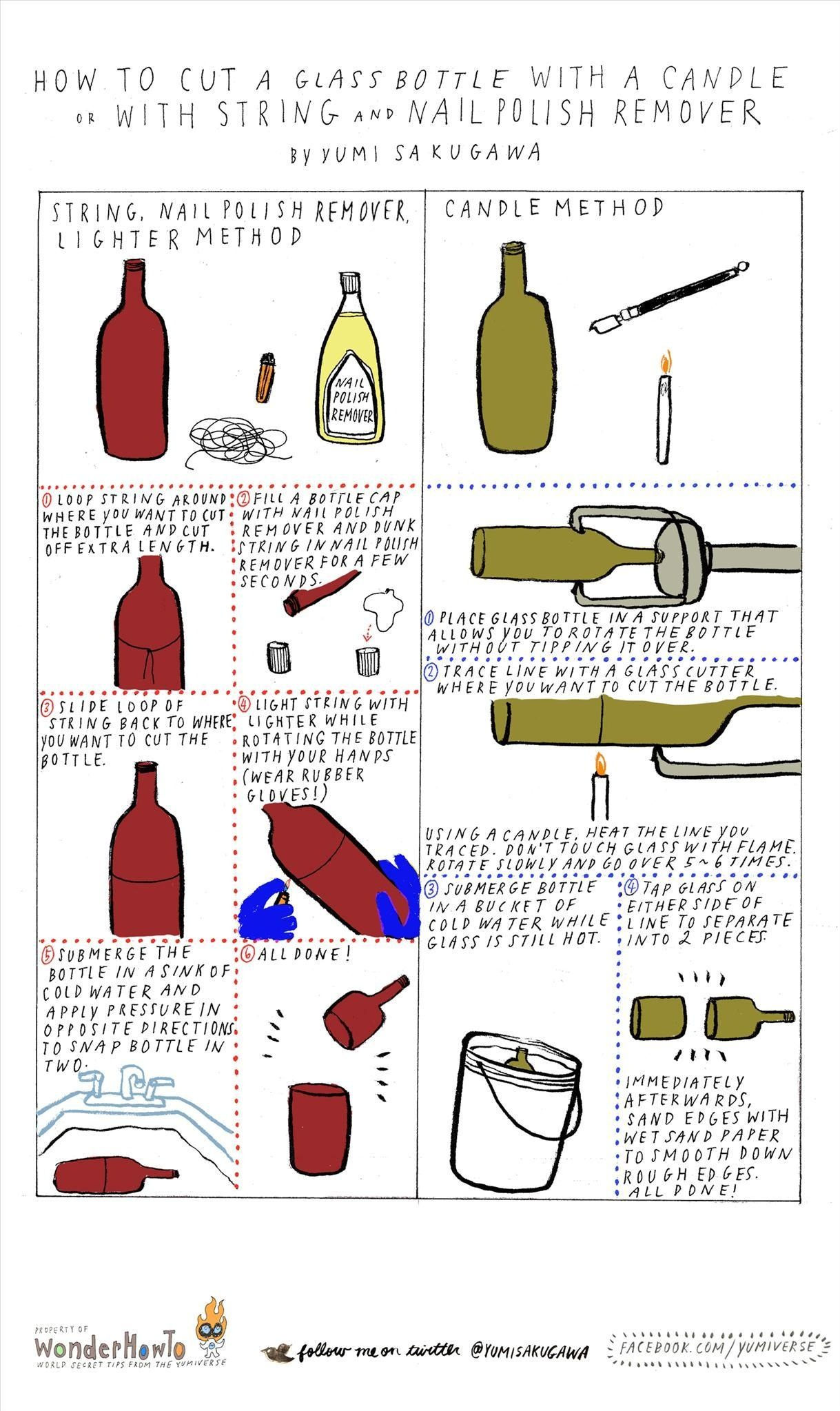 How to Cut Glass Bottles in Half Using Fire and Glass Cutters or.