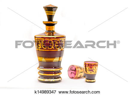 Picture of Cut Glass Bottle Colored with short drink k14989347.