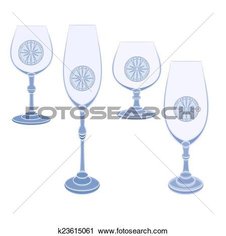 Clipart of Champaign glasses cut glass k23615061.