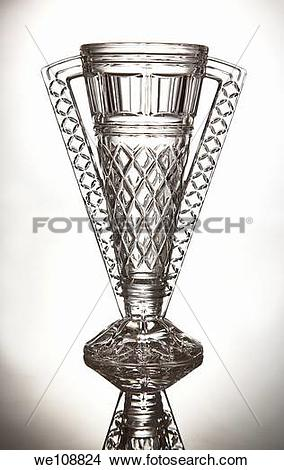 Stock Photo of Studio shot of a crystal cut glass trophy we108824.