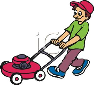 Funny Mowing Lawn Clipart.
