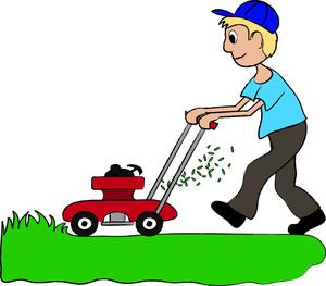 Boy mowing lawn clipart.