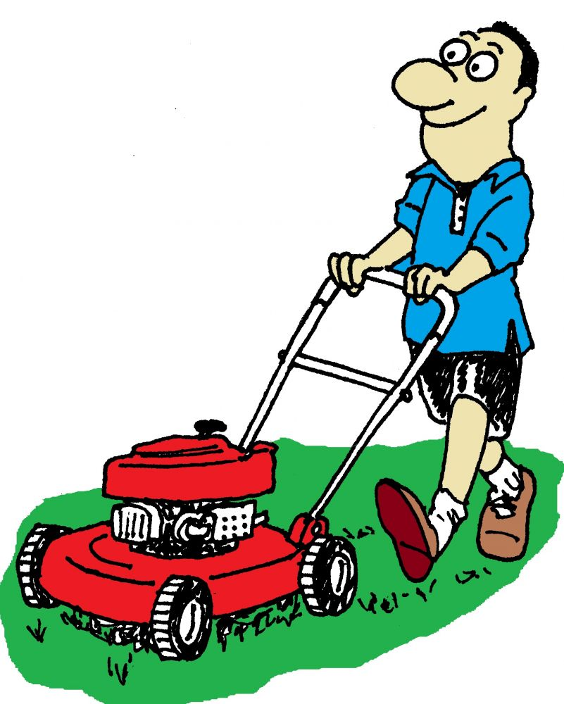 Man cutting grass clipart.