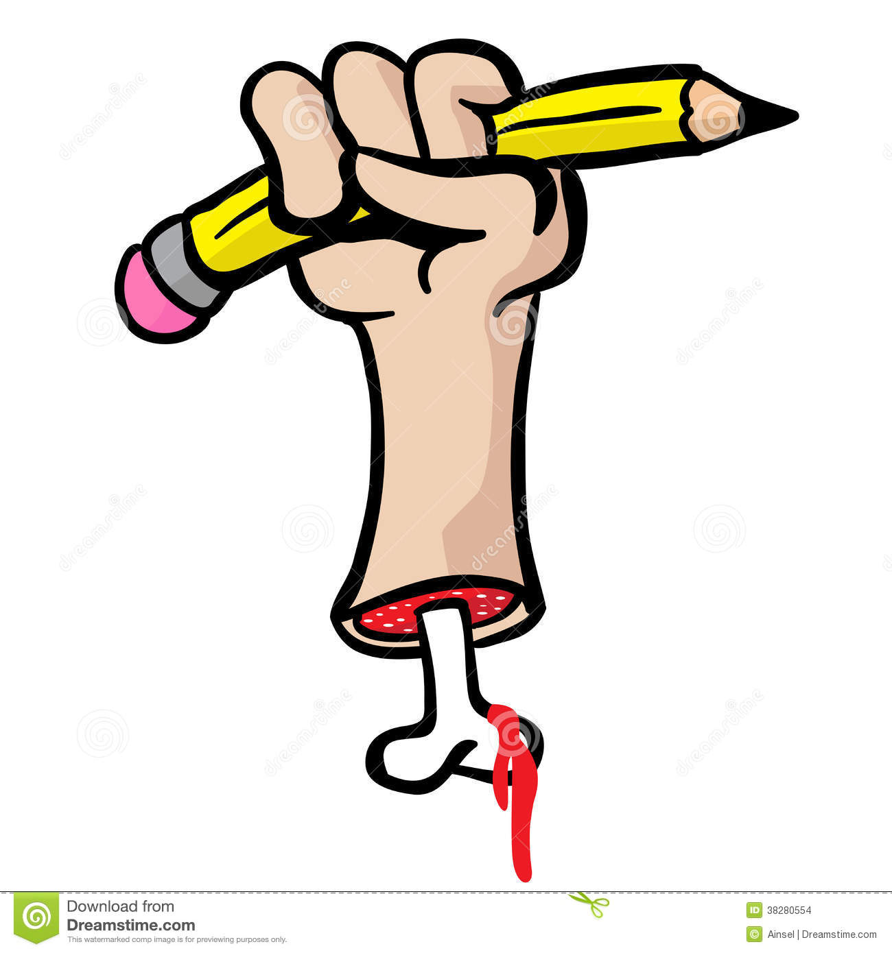 Cut Hand With Bone Holding A Pencil Stock Illustration.