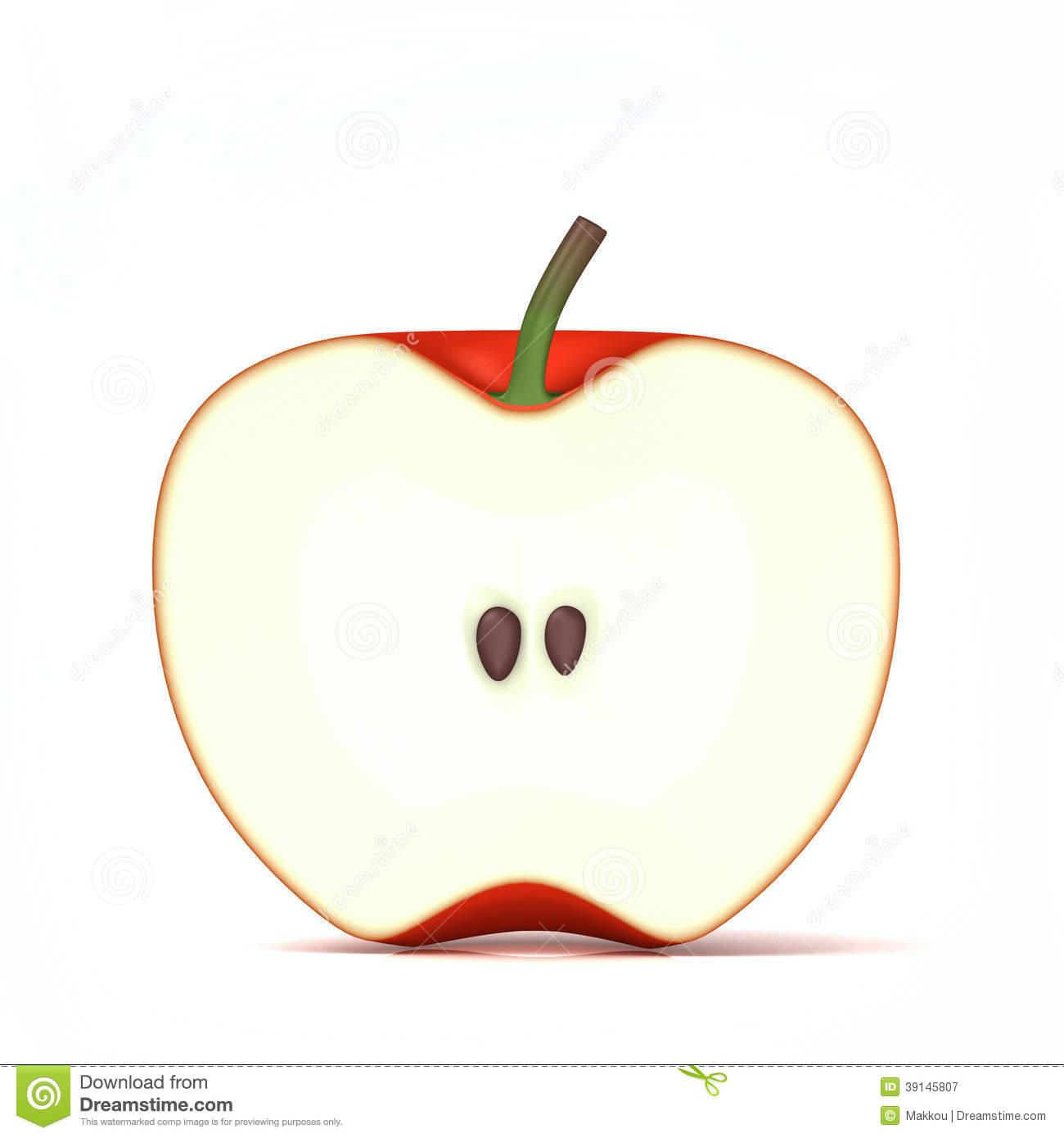 Half Cut Of Red Apple Stock Photo.