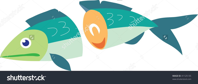 Clip Art Illustration Fish Cut Half Stock Illustration 41125135.