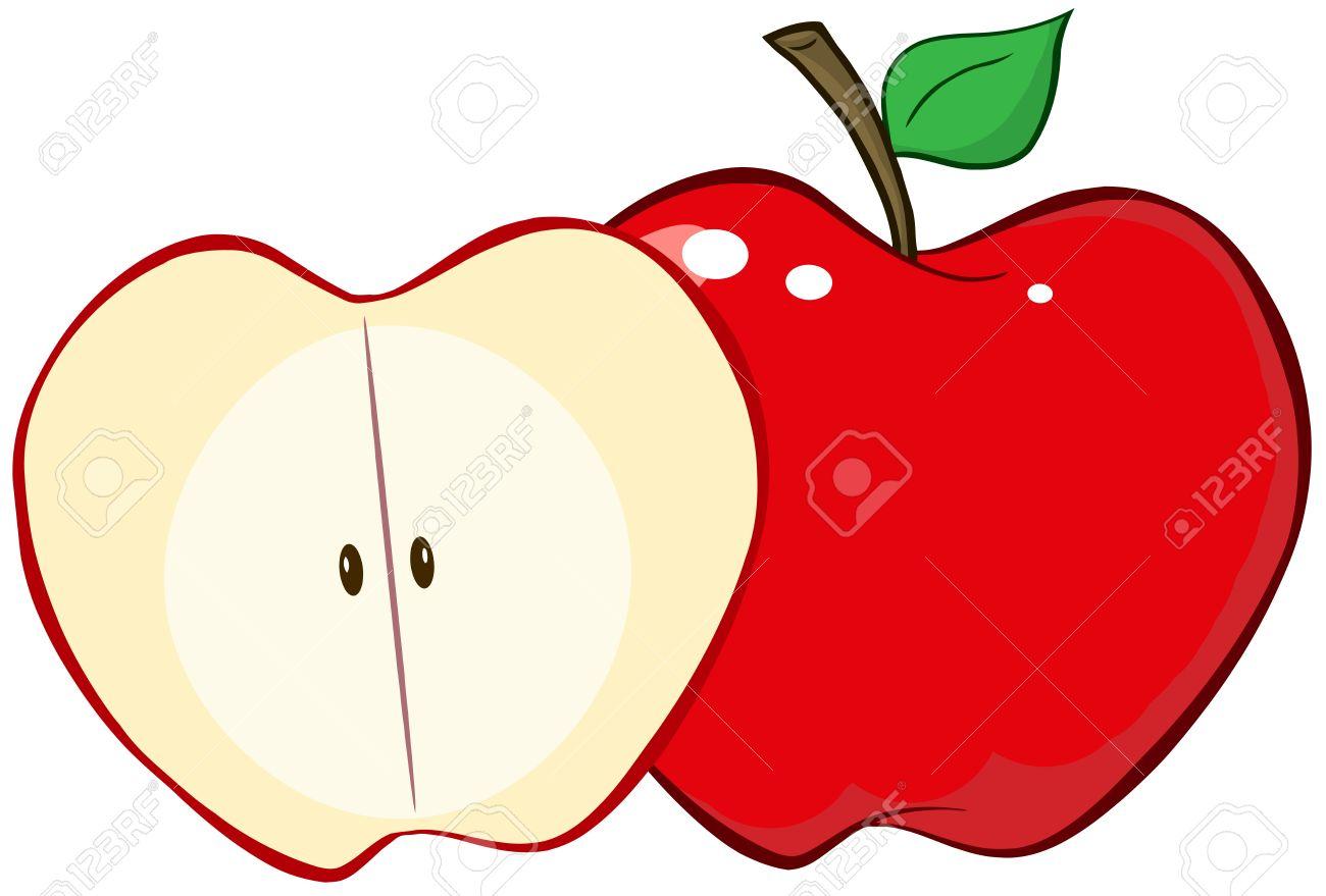 Cut apple clipart.