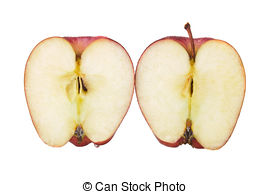 Stock Image of Apple cut in half.