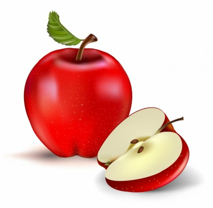Half Red Apple Clipart.