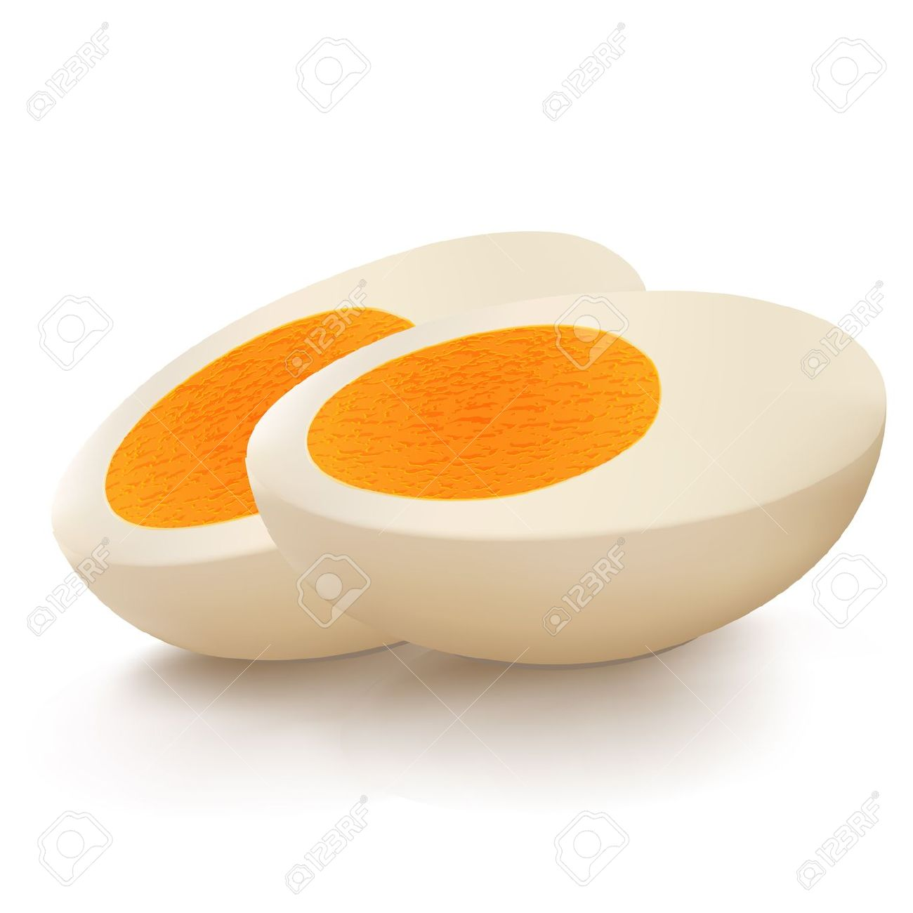 Illustration Of Boiled Egg Cut Into Pieces Kept On White.