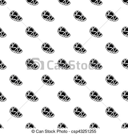Clipart Vector of Steak cut into pieces pattern, simple style.