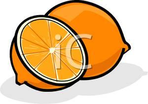 Art Image: An Orange Cut Into Pieces.