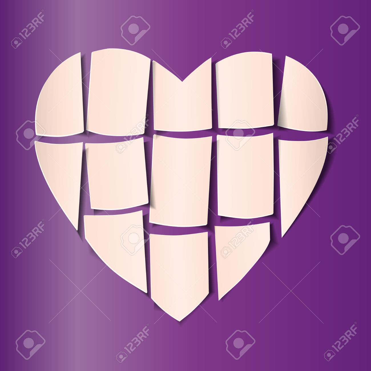 Symbol Of Love And Valentine's Day. Bright Beige Cut Into Pieces.