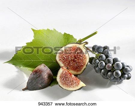Picture of Fig, cut into pieces, and grapes 943357.