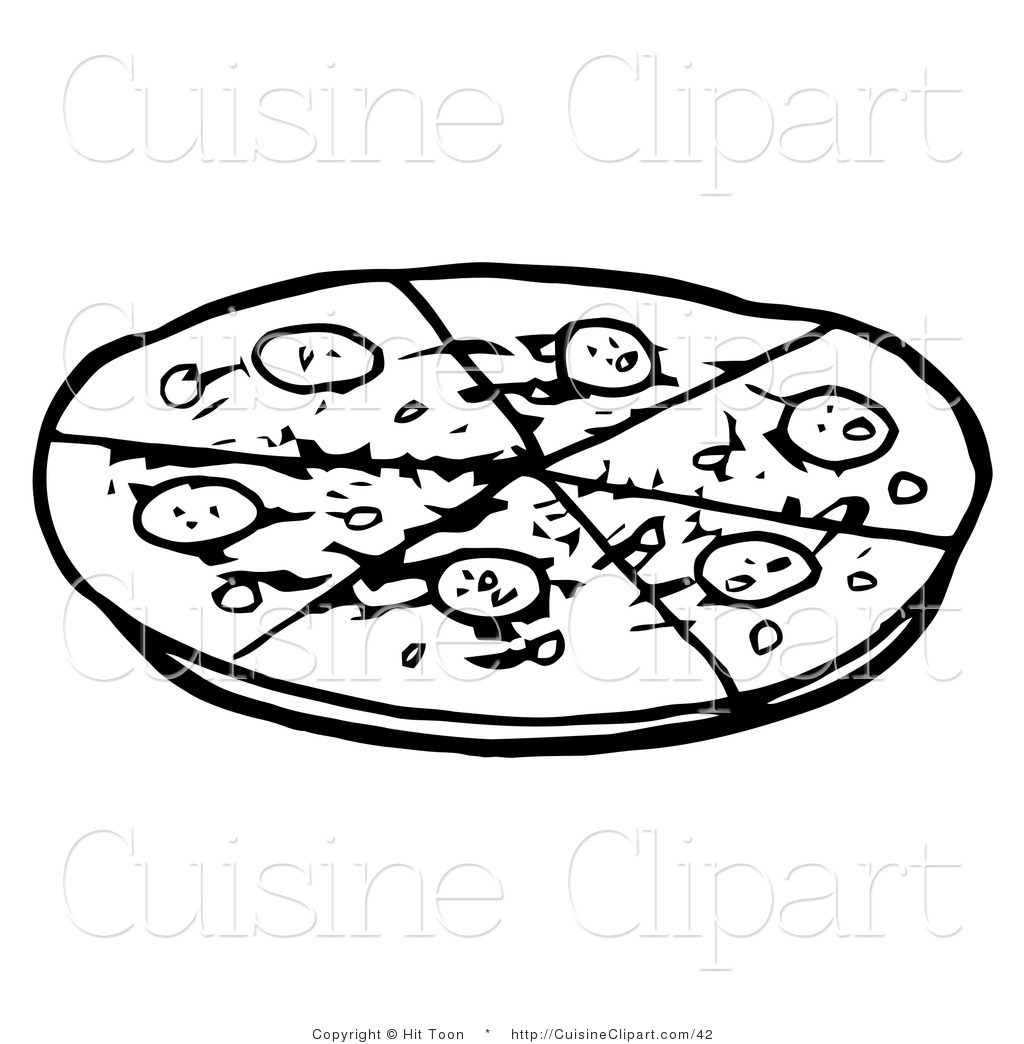 Cuisine Clipart of an Outlined Pepperoni Pizza Pie Cut into Six.