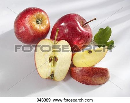 Stock Photograph of 'Royal Gala' apples, whole and cut into pieces.