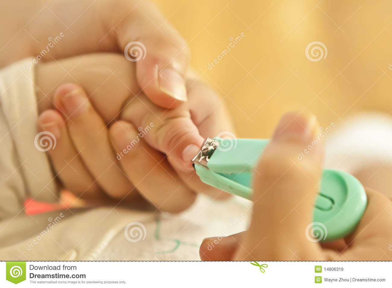 Mother Cut Baby Nails Royalty Free Stock Photos.