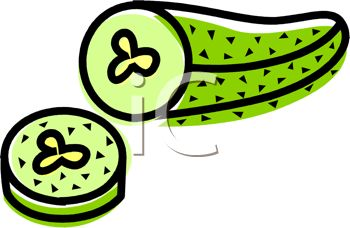 Picture of a Pickle With a Piece Cut Off In a Vector Clip Art.
