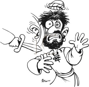 Black and White Cartoon of a Man's Ear Being Cut Off with a Dagger.