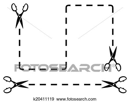 Dotted line with scissors cut on white backdrop Clip Art.