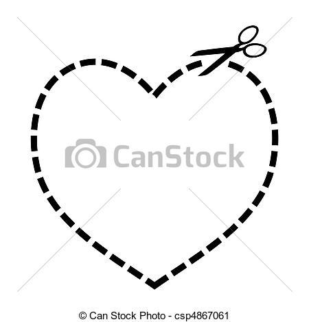 Vector Clip Art of Cut out heart.