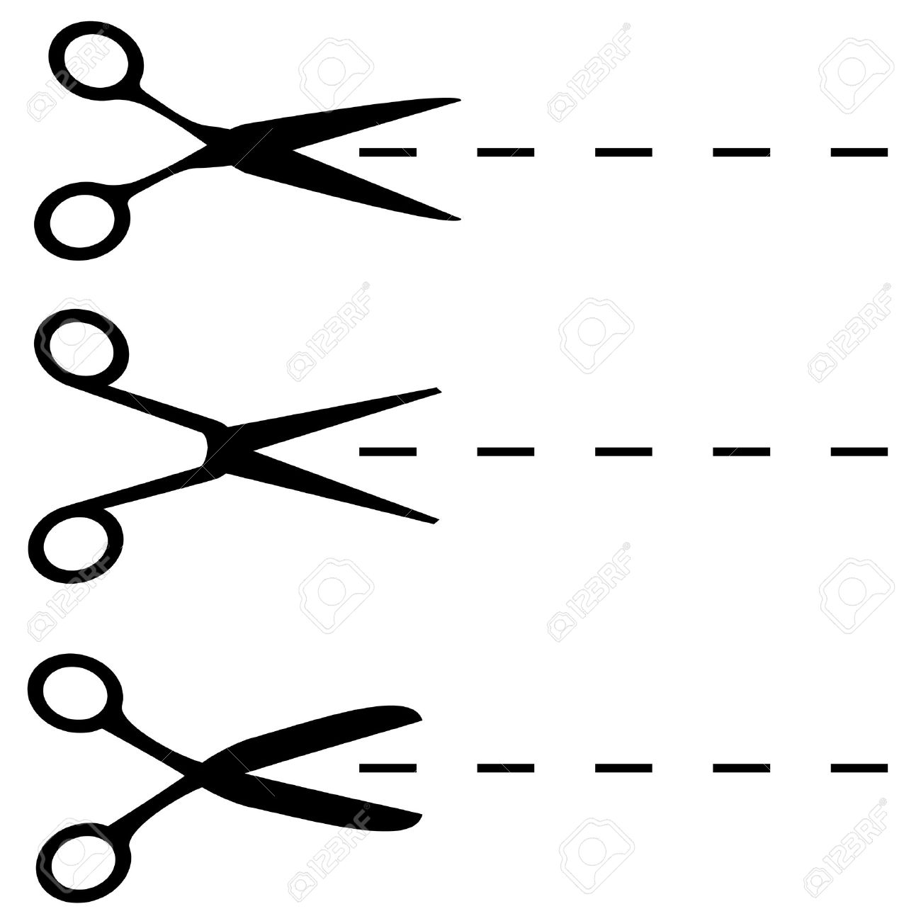 Scissors Black Shapes Isolated On White. Royalty Free Cliparts.
