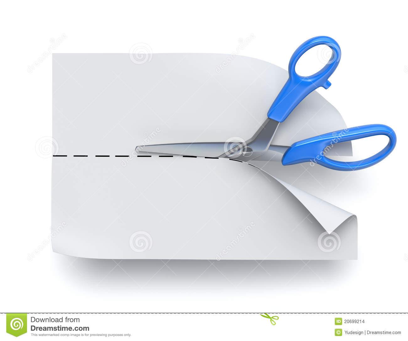 Scissors cutting paper stock illustration. Illustration of page.