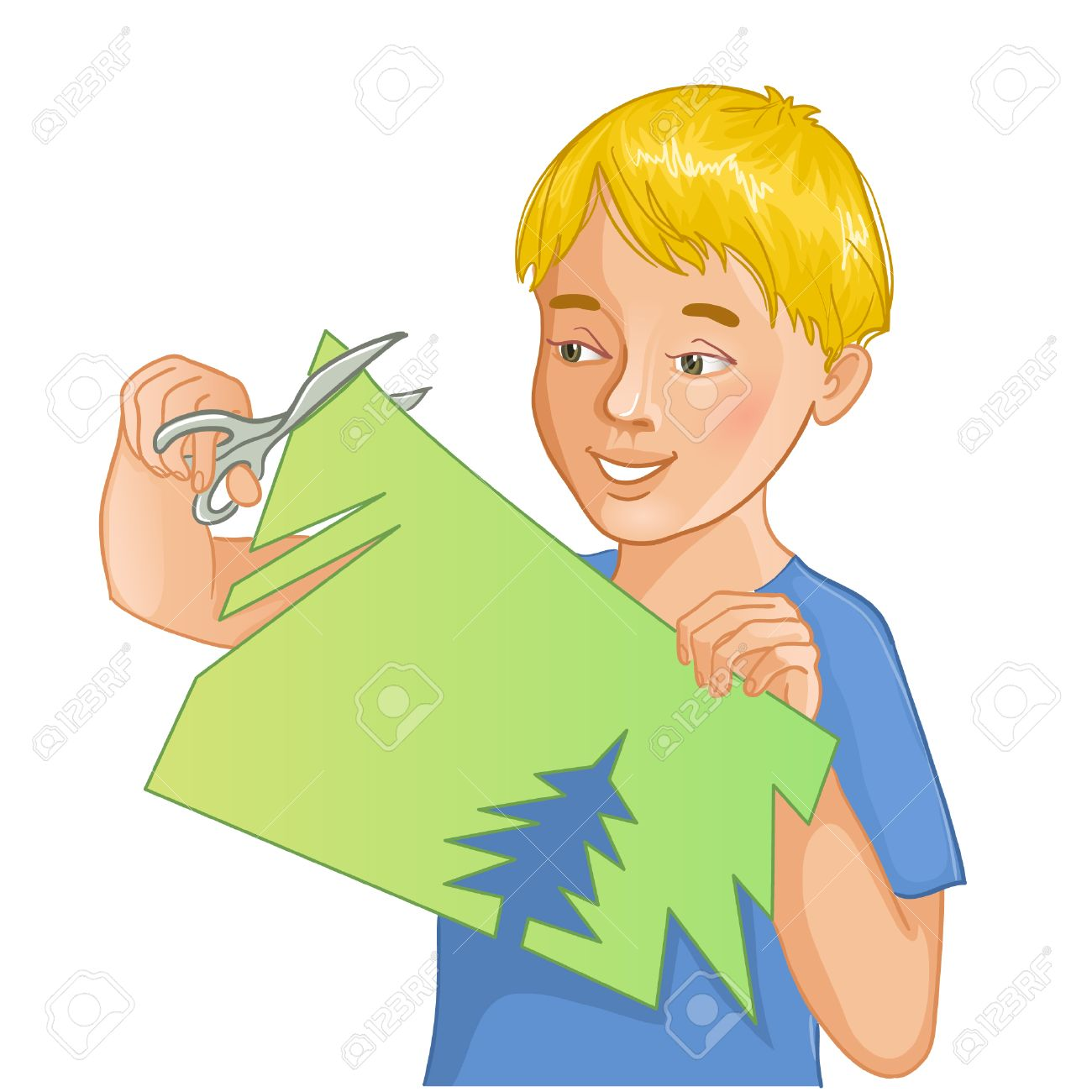Boy is cutting color paper with scissors.
