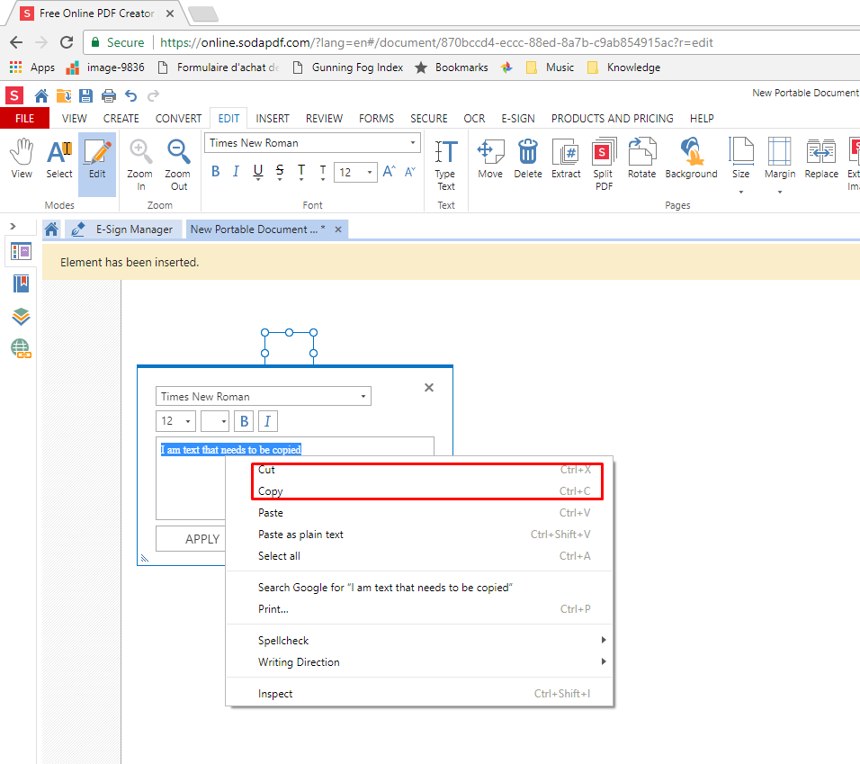 How to cut, copy and paste text in a PDF file.