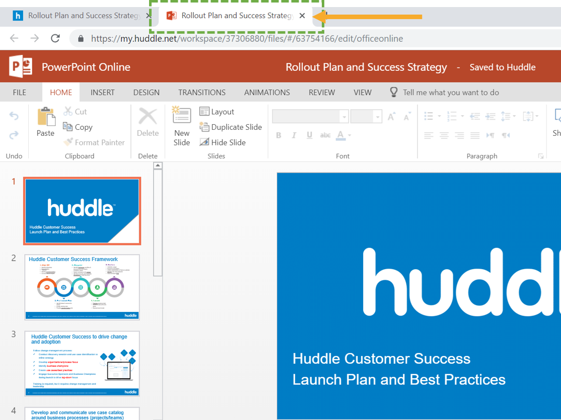 Editing content with the Huddle Office Online integration.
