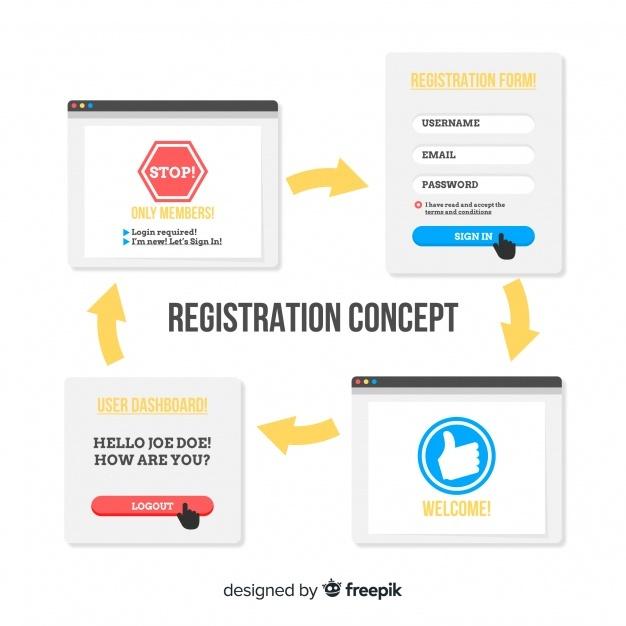 Free Registration online concept SVG DXF EPS PNG.